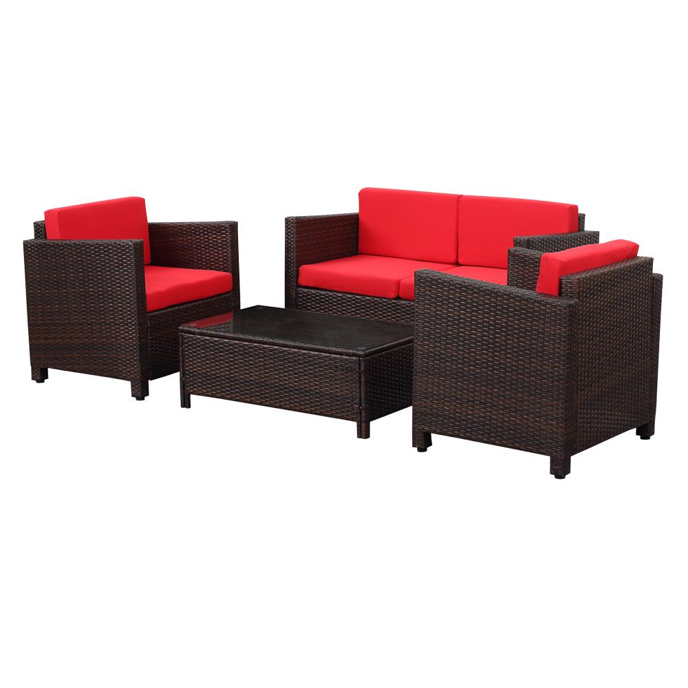 Salon de jardin ikayaa 4 personnes 2 fauteuils canap 2 places noir et be - Salon jardin 2 personnes ...