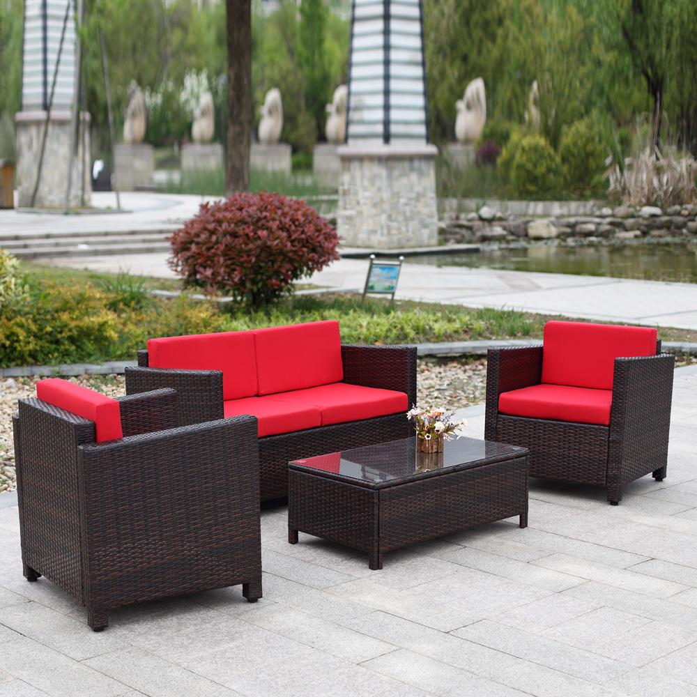 Salon de jardin ikayaa 4 personnes 2 fauteuils canap for Salon de jardin 2 personnes