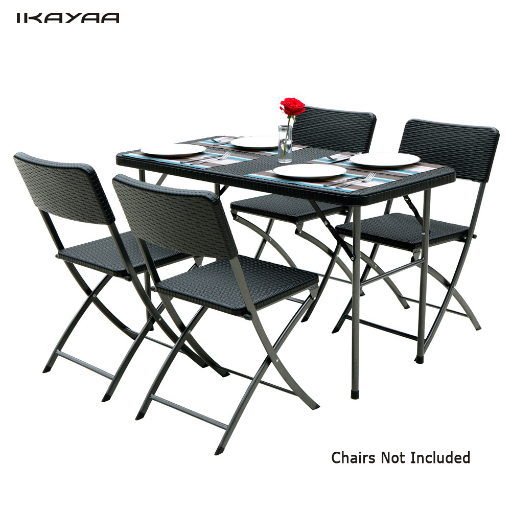 Table pliante de Jardin iKayaa 122cm noire style résine ...