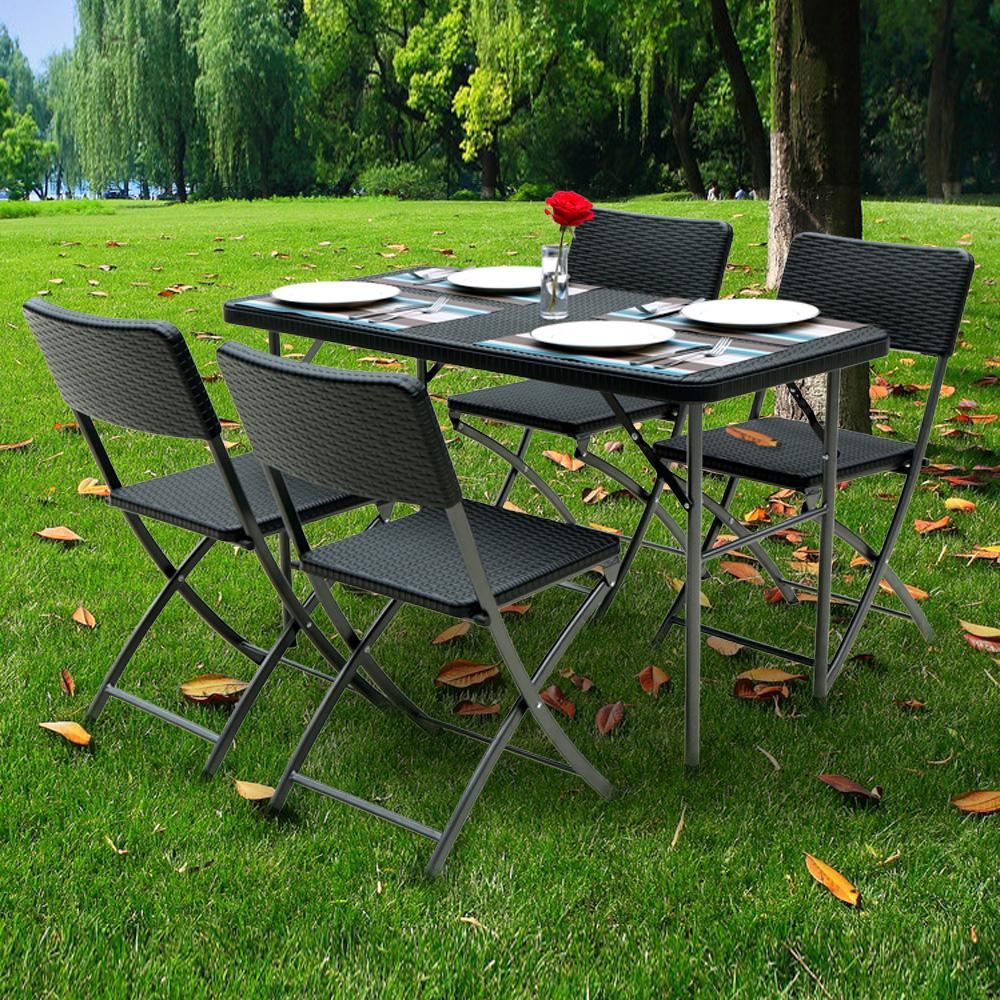 table pliante de jardin ikayaa 122cm noire style r sine tress e. Black Bedroom Furniture Sets. Home Design Ideas