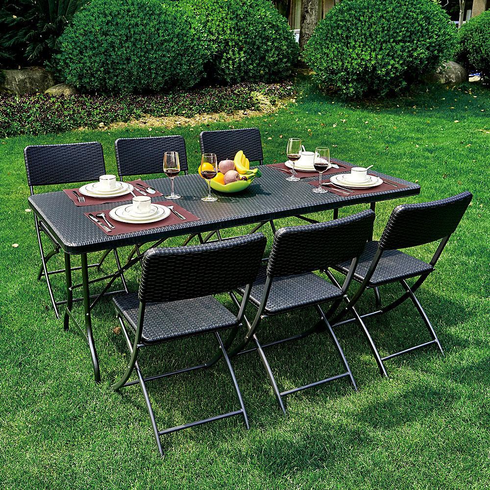 Table pliante de jardin ikayaa 180cm noire style r sine - Table jardin tressee ...