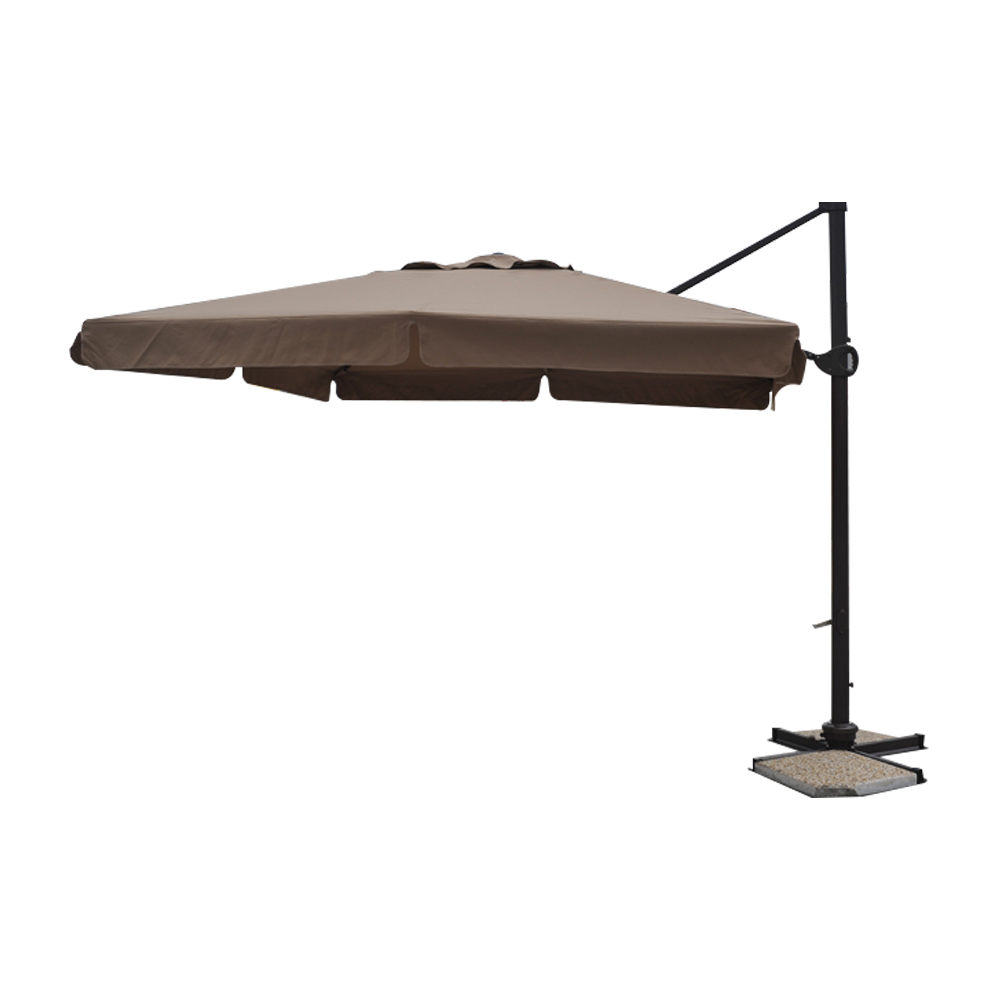 parasol d port pro 3x3m alu 80x53mm avec bandeaux moka. Black Bedroom Furniture Sets. Home Design Ideas