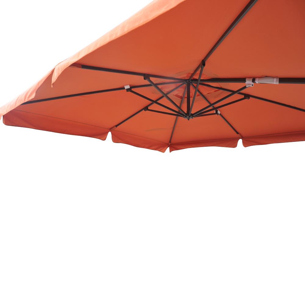 Parasol d port pro 3x3m alu 80x53mm avec bandeaux orange for Parasol impermeable terrasse