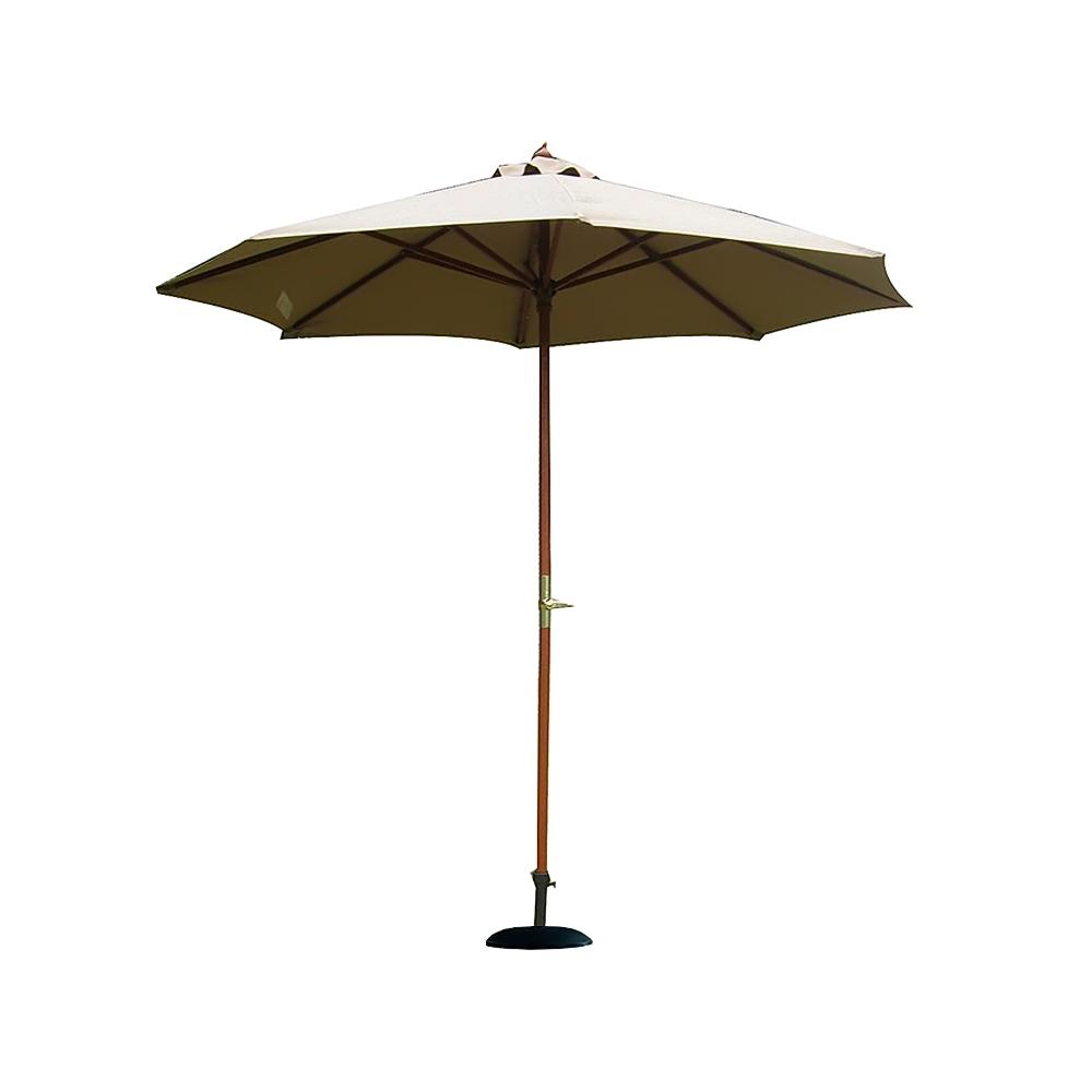 parasol droit en bois finition teck dia 270cmgris pied 22kg offert. Black Bedroom Furniture Sets. Home Design Ideas