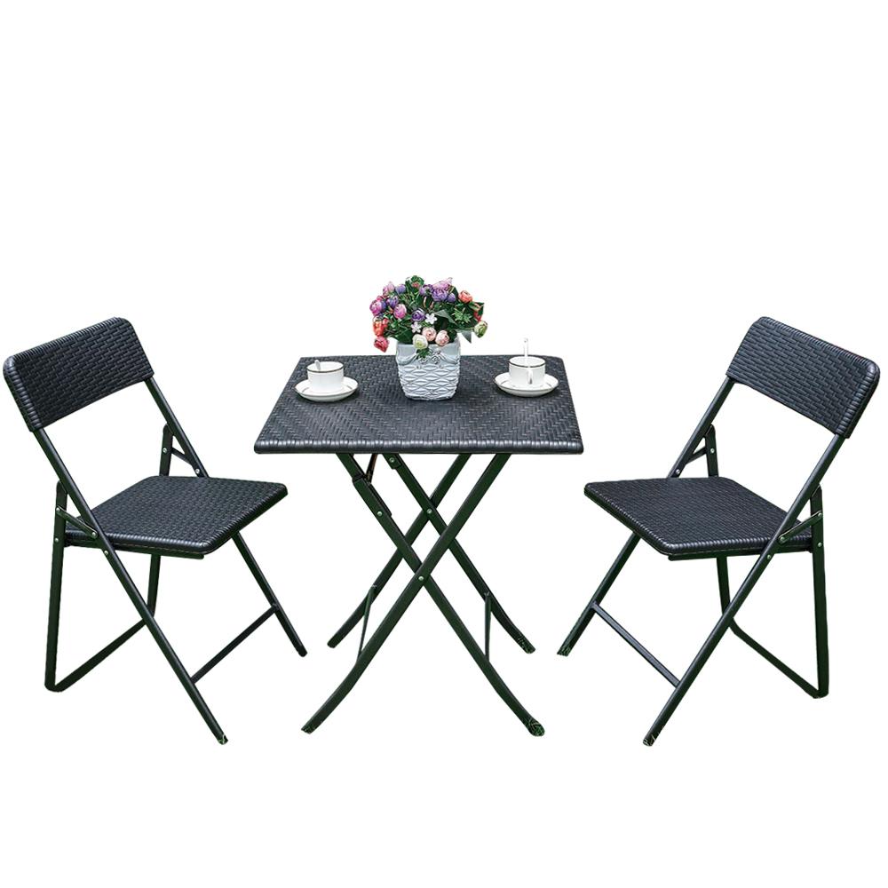 Ensemble table et chaises pliantes ikayaa style r sine tress e - Table chaise resine tressee ...