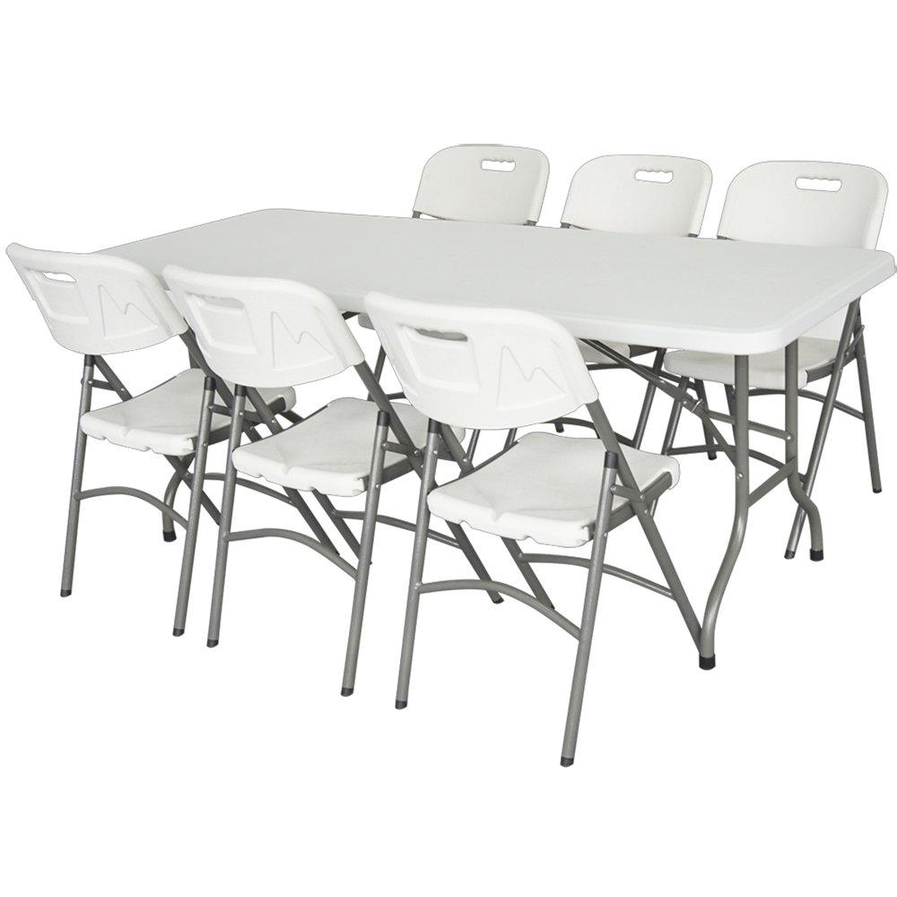 Table de jardin pliante premium 183cm plateau uni blanc - Table de reception pliante occasion ...
