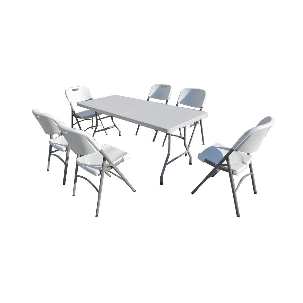 ensemble table de jardin pliante 183cm et 6 chaises pliantes premium. Black Bedroom Furniture Sets. Home Design Ideas