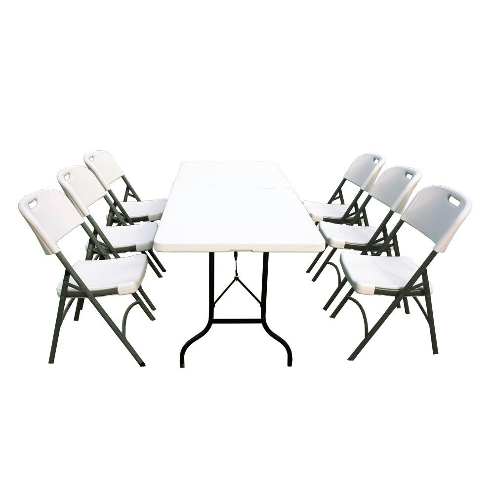 Ensemble table de jardin pliante 183cm et 6 chaises pliantes - Ensemble table et 6 chaises ...