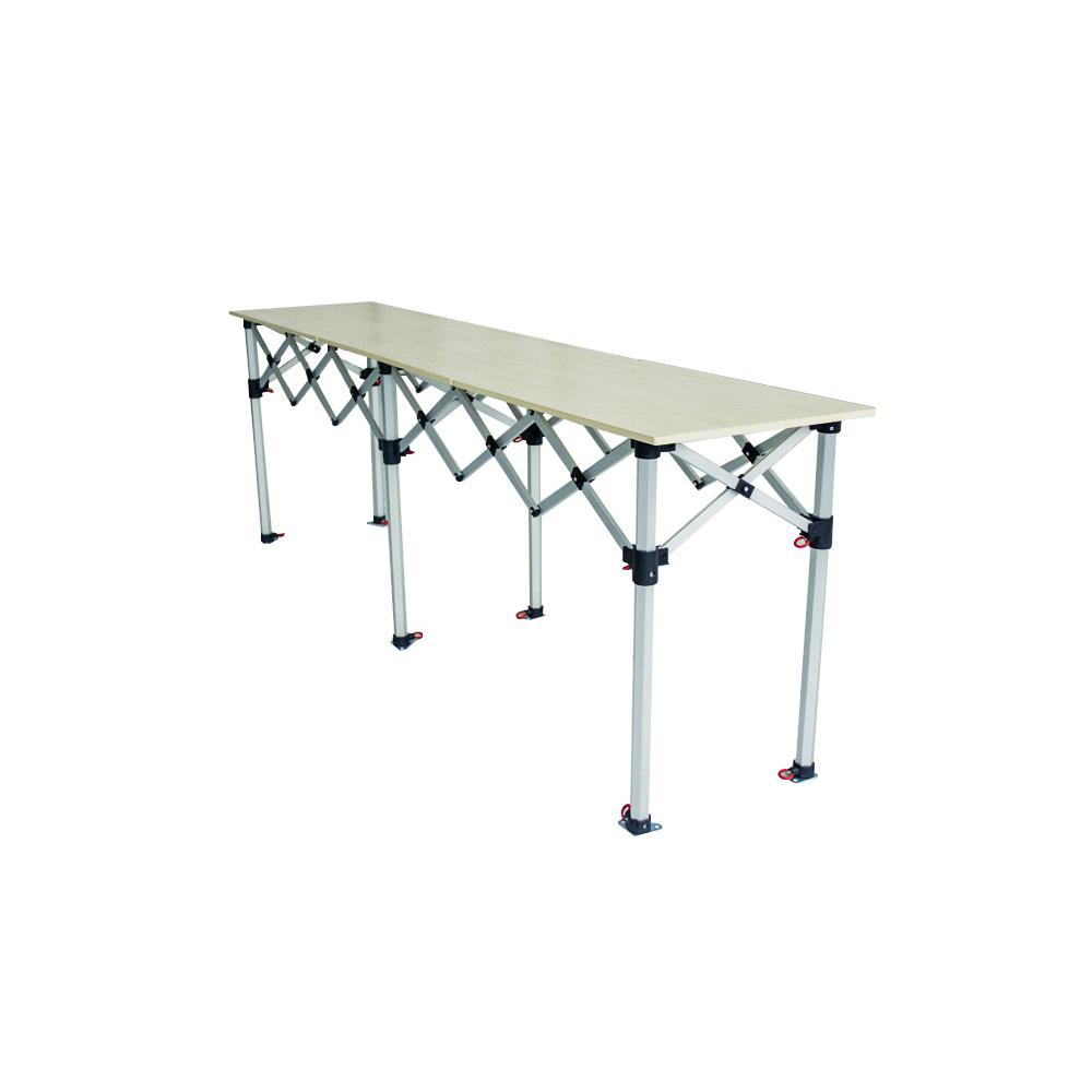 table pliante hauteur r 233 glable 2 85mx60cm plateau bois en aluminium 40mm