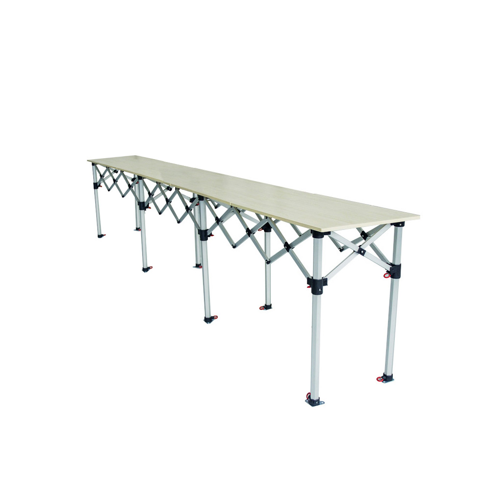 Comptoir table pliante hauteur r glable 435x60cm plateau for Table pliante exterieur professionnel