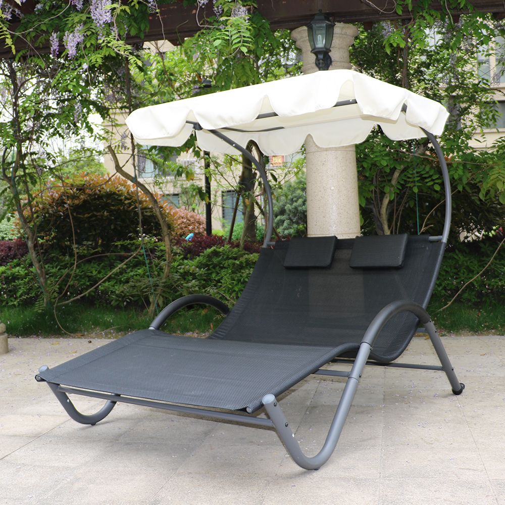 transat de jardin bain de soleil biplace noir avec ombrelle. Black Bedroom Furniture Sets. Home Design Ideas