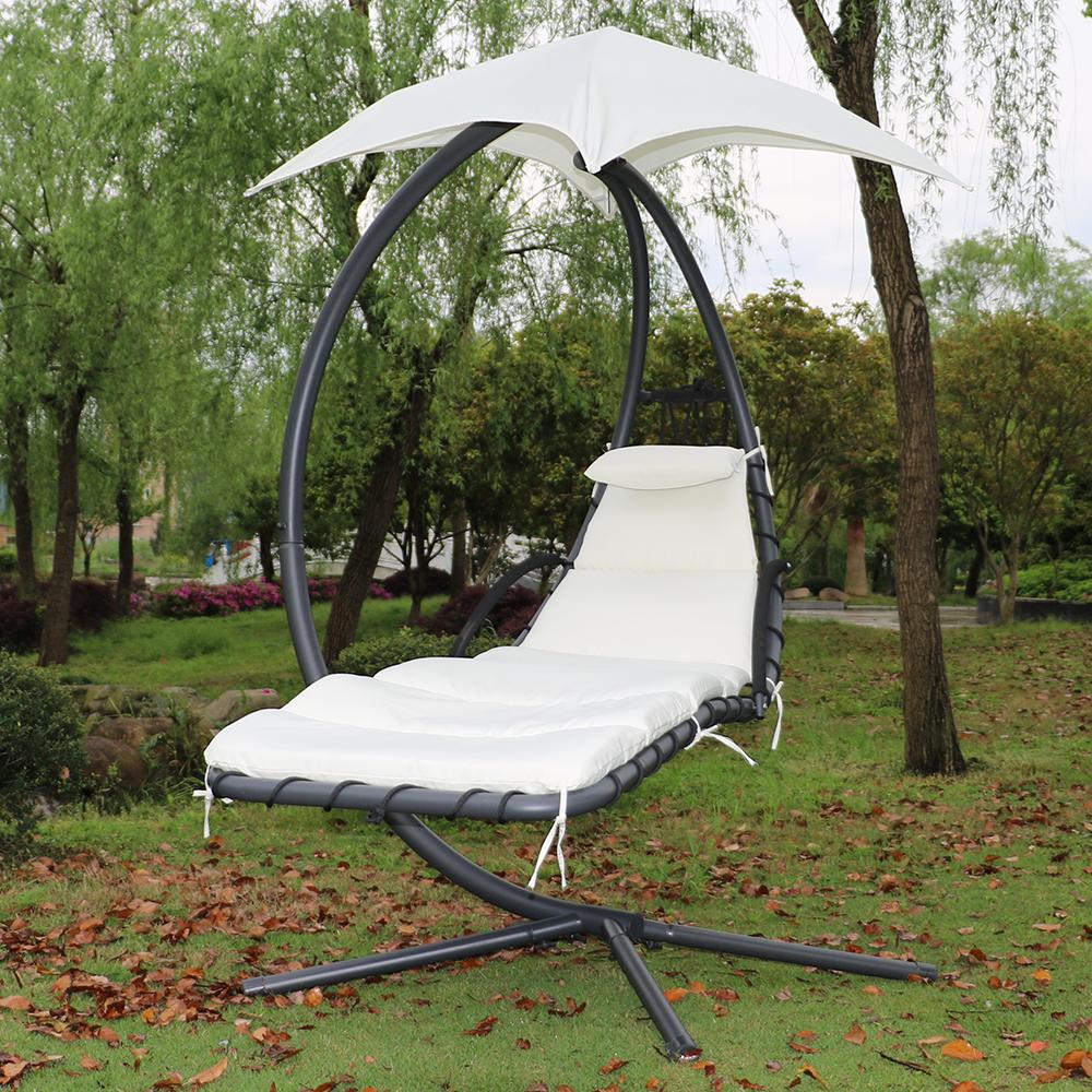 Fauteuil suspendu chaise longue de jardin avec ombrelle - Fauteuil de jardin suspendu ...