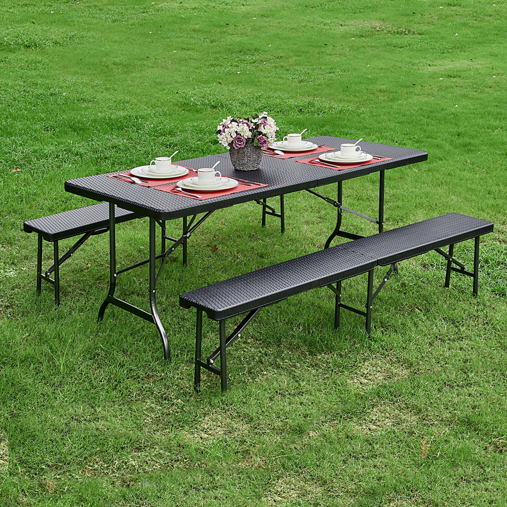 Table pliante de jardin ikayaa 180cm noire style r sine for Table salon de jardin pliante