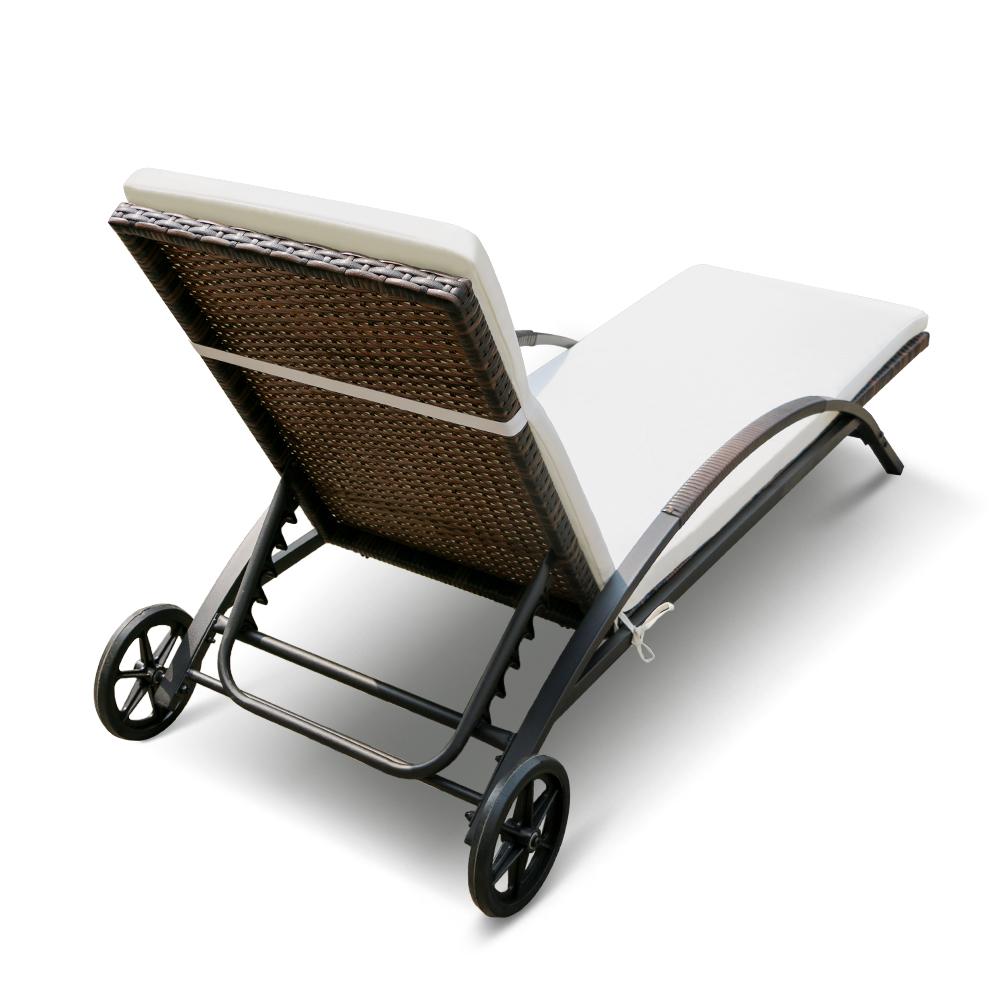 Lot de deux bains soleil chaise longue transat marron et for Chaise longue deux personnes