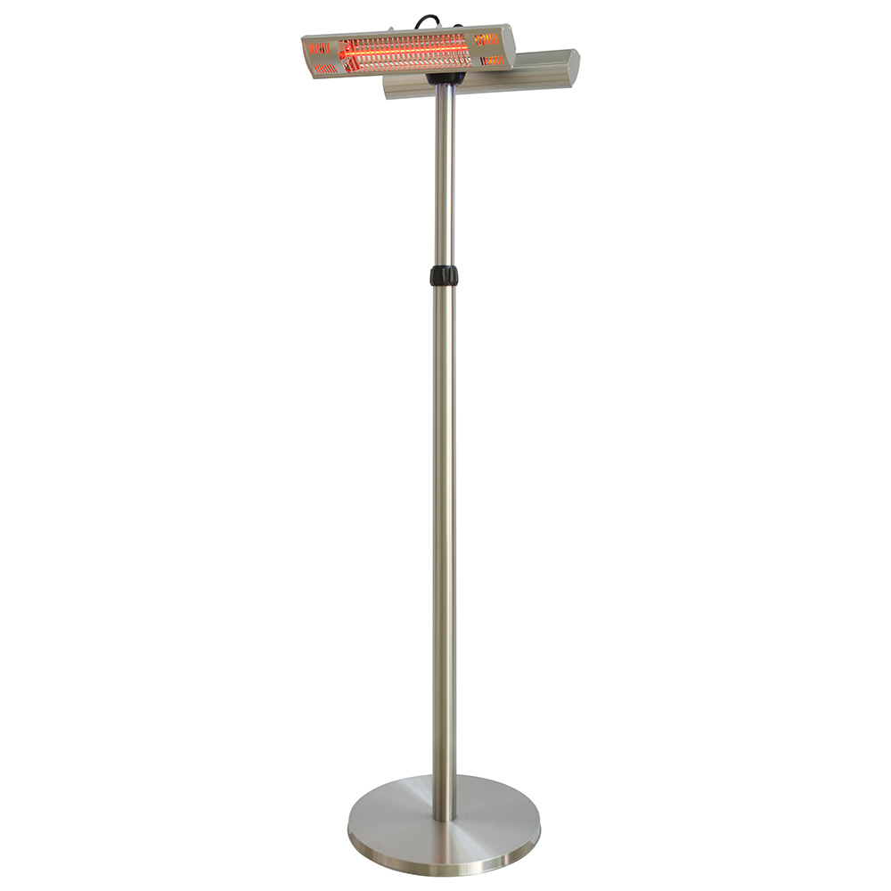 parasol chauffant lectrique double lampes type halog ne sur pied avec t l commande 3000w. Black Bedroom Furniture Sets. Home Design Ideas